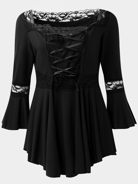 Black Lace-up Front Square Neck Bell Sleeves Blouses