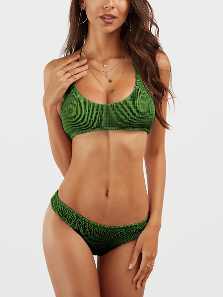 Green Plain Halter Bikini Set