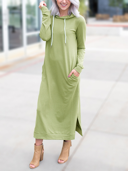 Green Slit Design Side Pockets Hooded Maxi Dress
