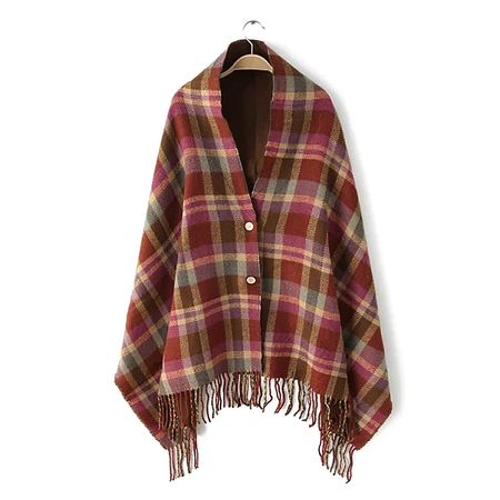 Brown Plaid Button Detail Fringe Hem Cape