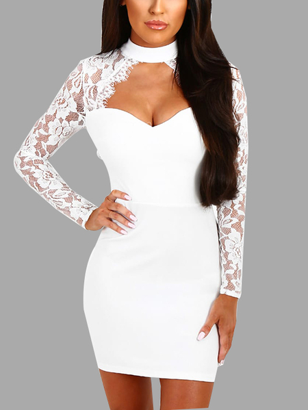 White Sexy Crew Neck Lace Sleeves Mini Dress With Cut Out Detail