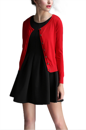 Red Round Neck Long Sleeve Knitted Cardigan