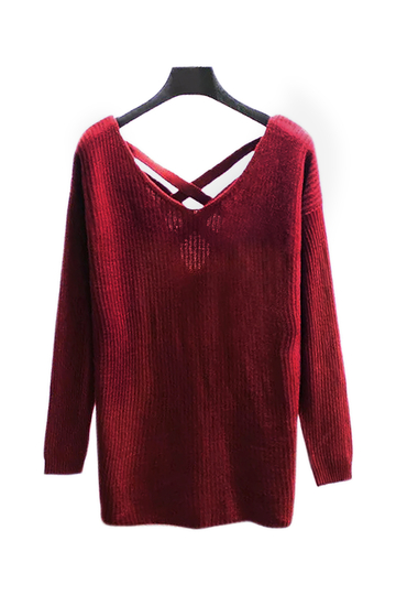 Red Chunky Jumper with Strap Cross Back