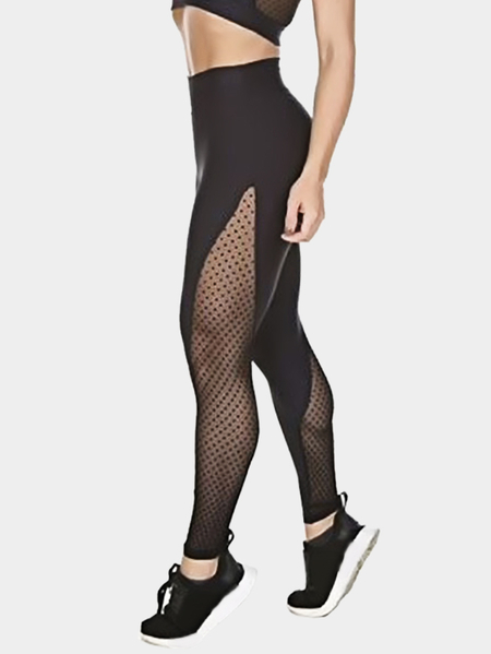 Active Net Yarn Design Dot Pattern Leggings in Black