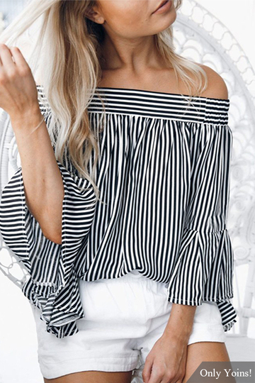 Off-the-shoulder Stripes Long Sleeves Top