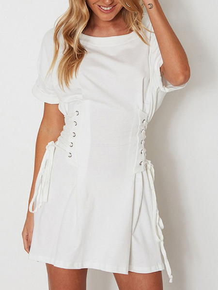White Lace-up side Half Sleeves Mini Dress