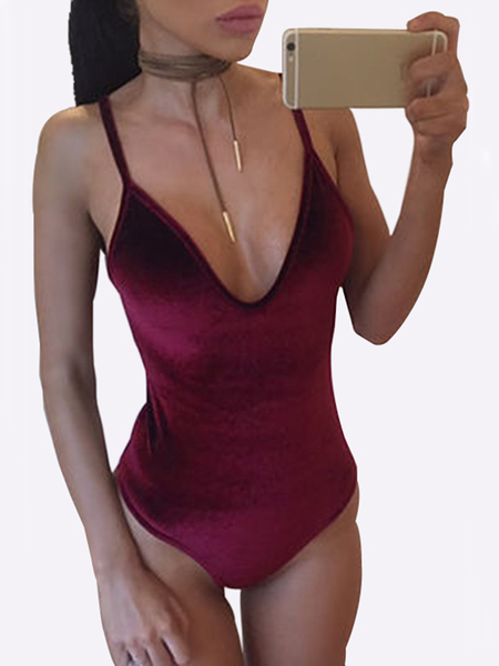 Burgundy Velvet V-neck Backless Spaghetti Bodysuit