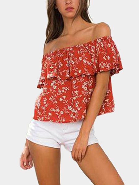 Random Floral Print Off Shoulder Shirt