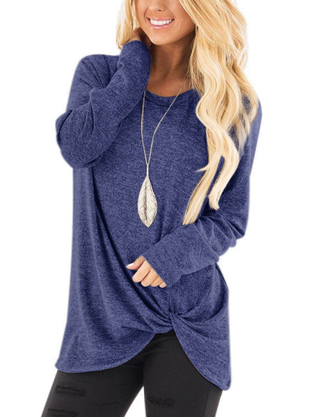 Navy Crossed Front Design Plain Round Neck Long Sleeves T-shirts
