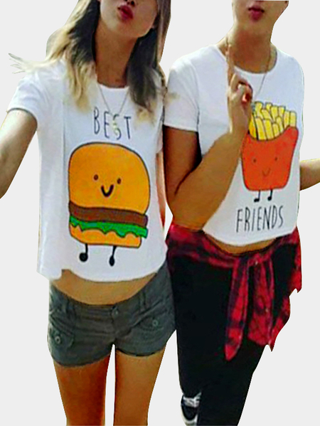 One Casual Hamburger Print Bestie Tees in White