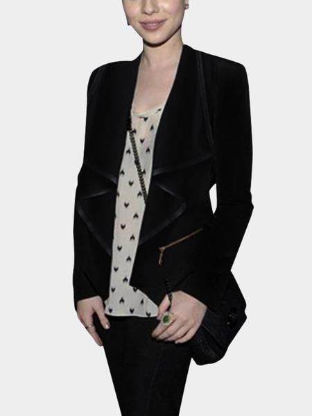 Black Fashion Lapel Collar Irregular Hem Coat