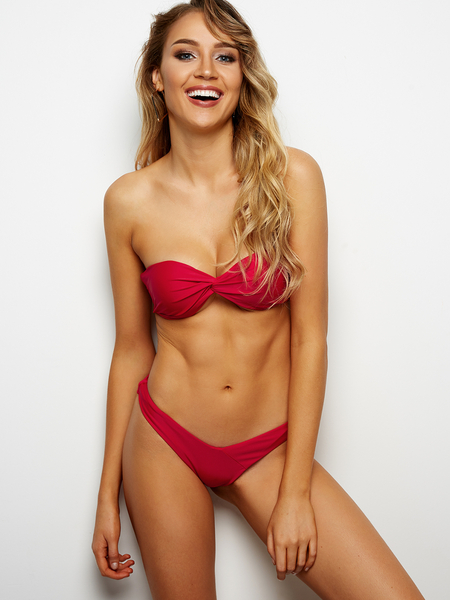Red Sexy Twist Front Bandeau Bikini Set