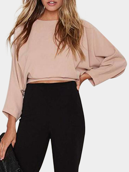Pink Tie At Back Long Bat Sleeves Loose Crop Top