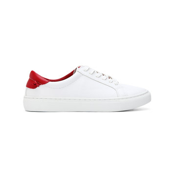 White Casual Leather Look Lace-up Sneakers with Red Back Part
