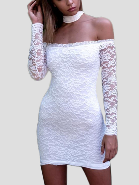 White Lace Halter Off Shoulder Backless Mini Party Dresses