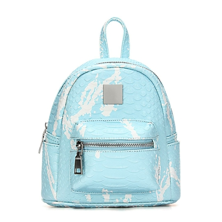 Light Blue Croc Leather-look Mini Backpack with Decorative Detailing