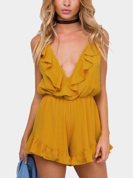 Yellow Sexy Flouncy Details Backless Playsuit