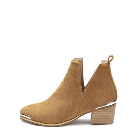 Yellow Cut Out Block Heel Ankle Boots