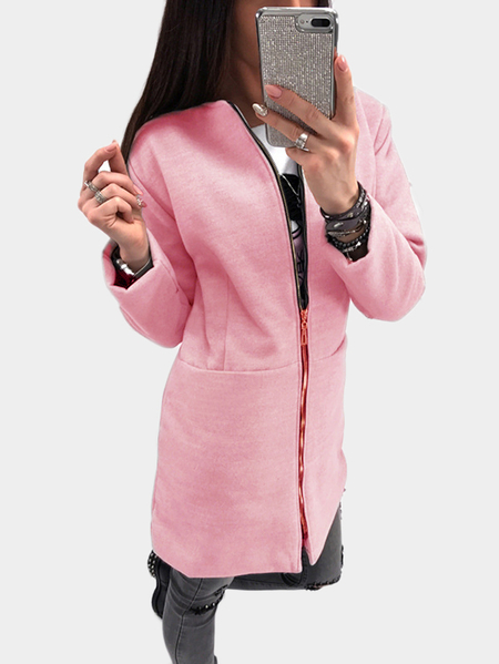 Pink Two Large Pockets Long Sleeves Outerwear