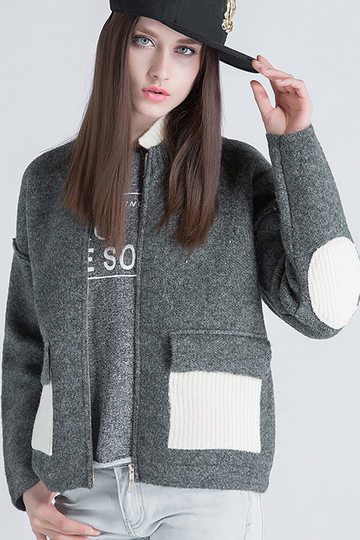 Grey Drop Shoulder Zip Front Knitwear
