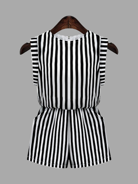 Stripe Patter Elastic Waist Side Pockets Playsuit