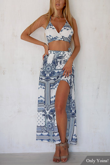 Navy Floral Print V-neck Co-ord