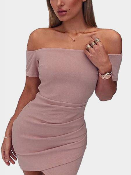 Sexy Pink Off Shoulder Manga Curta Mini-Vestido