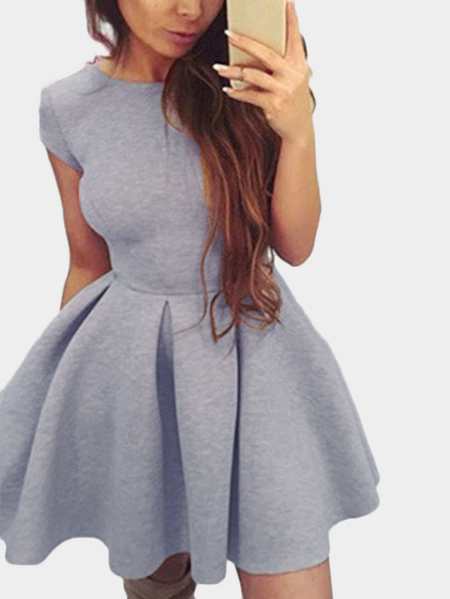 Grey Tight-waist Open Back Mini Dress