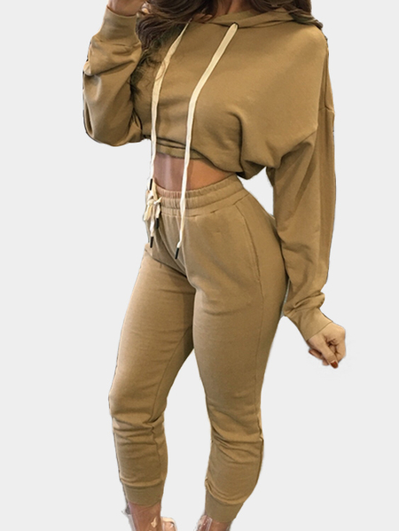 Khaki Hooded Sling Sweatshirt Two Piece Outfits