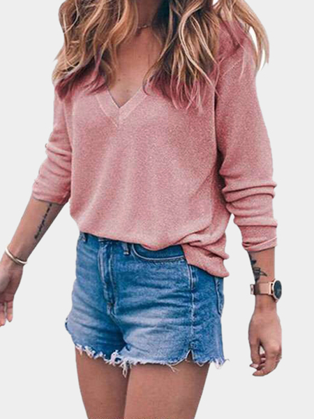 Pink V-neck Long Sleeves  Sweater Jumper