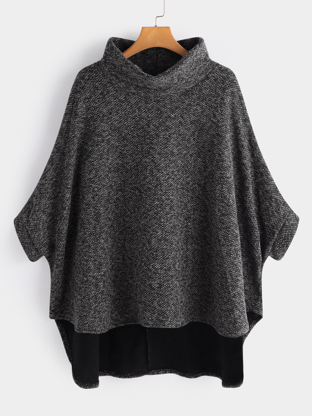 Grey High Collar Irregular Bat Sleeve Loose Sweater Cloak