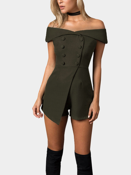 Army Green Off Shoulder Playsuit with Button Design