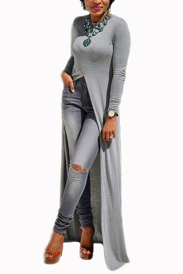 Grey Round Neck Long Sleeve Slit Hem Maxi Dress