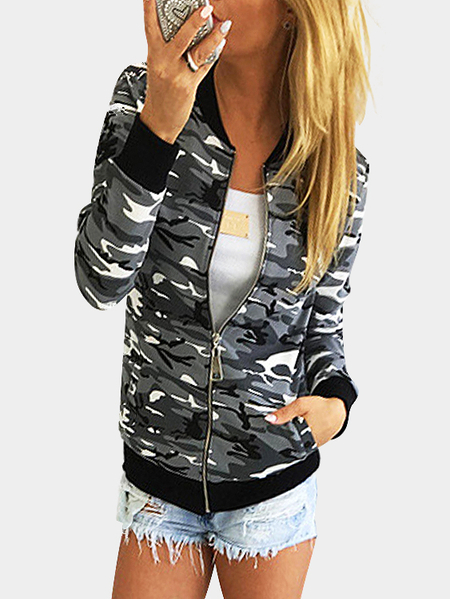 Camouflage Pattern Side Pockets Long Sleeves Fashion Jacket