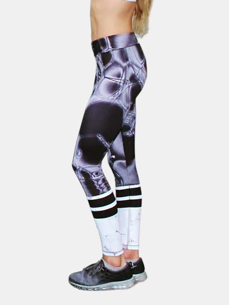 Active Random Floral Print Quick Drying Yoga Leggings in Purple