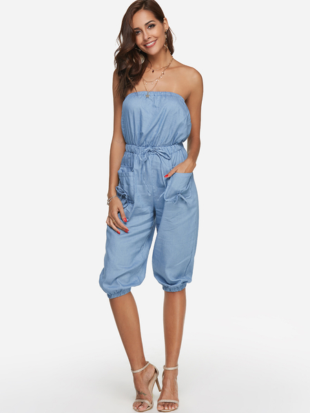 Blue Side Pockets Plain Bateau Sleeveless Drawstring Waist Jumpsuit