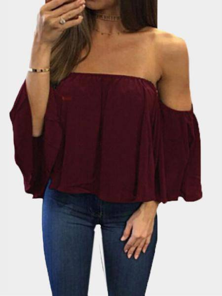 Burgundy Sexy Off Shoulder Loose Fit Blouse
