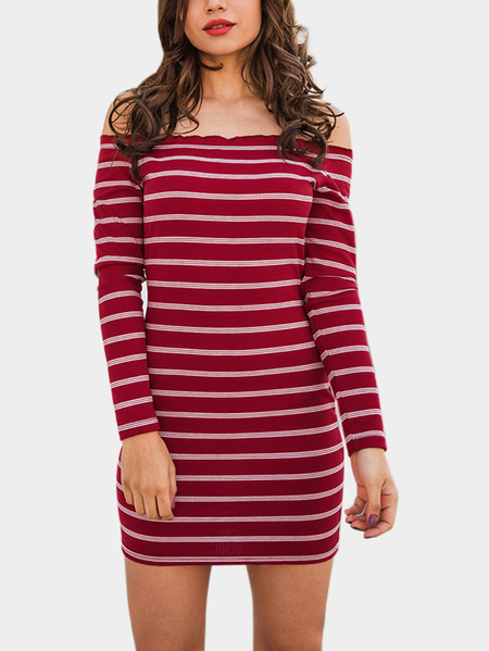 Red  Knitting Design Stripe Off The Shoulder Long Sleeves Dresses