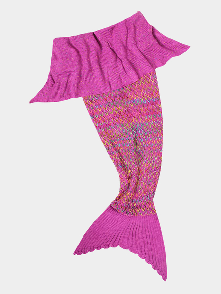 Fuchsia Lingge Design Knit Mermaid Tail Blanket