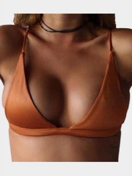 Orange Simple Low Cut V-neck Bikini Top