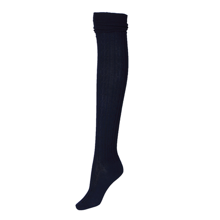Navy Over The Knee Cable Knit Stockings
