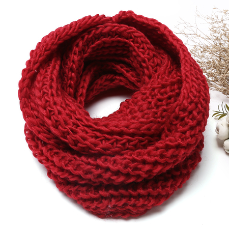 Red Cosy Knitted Infinity scarf