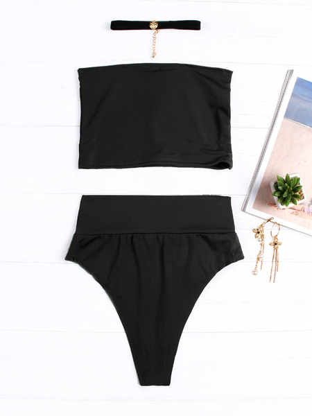 Black Tube Top Sleeveless Bikini Set