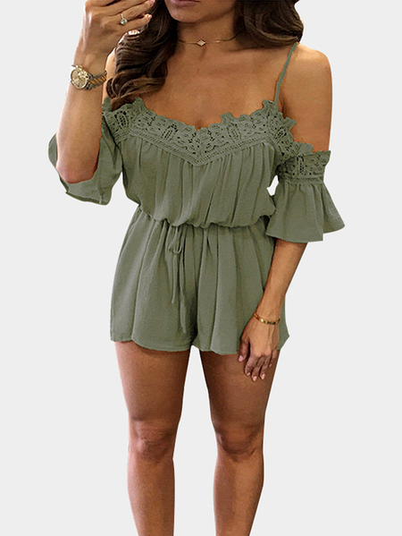 V-neck Crochet Design Playsuit in Army Green
