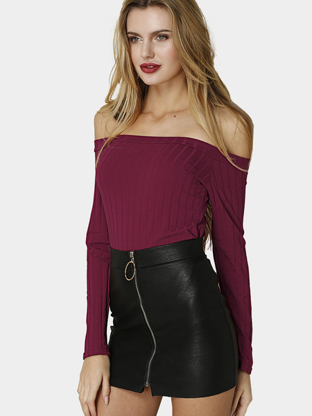 Borgoña Sexy Off-shoulder Ribbed Cuerpo-con Top