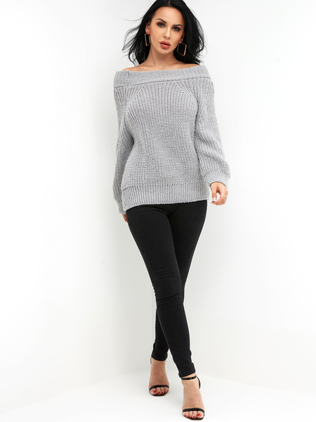 Grey Plain Off The Shoulder Long Sleeves Loose Fit Sweaters