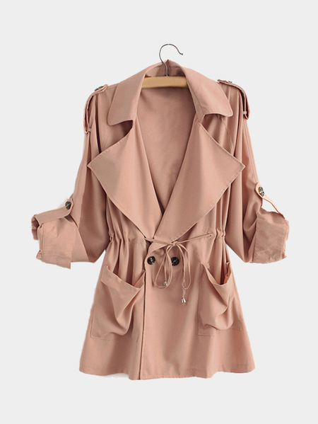 Pink Trench Coat With Drawstring Cintura