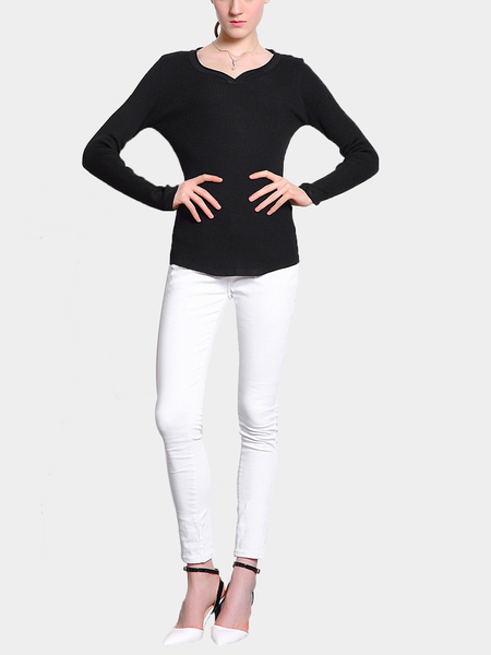 Ribbed Scoop Neck Jumper in Black