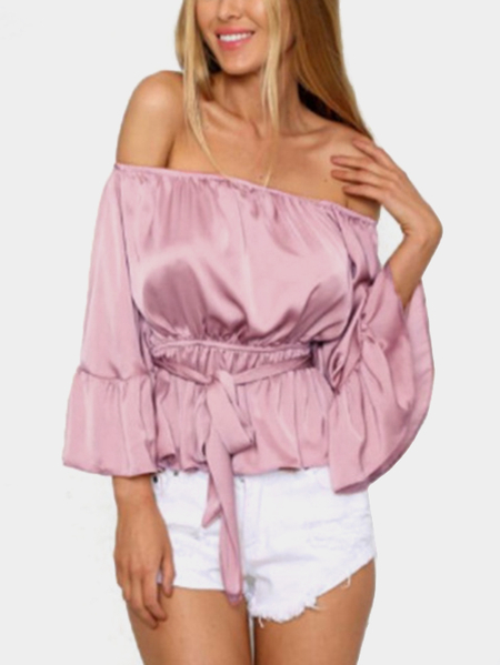 Pink Elastic Strap Off The Shoulder Long Sleeves Drawstring Waist Silk Blouse