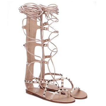 Apricot Gold-tone Studding Lace-up Knee High Style Flat Gladiator Sandals